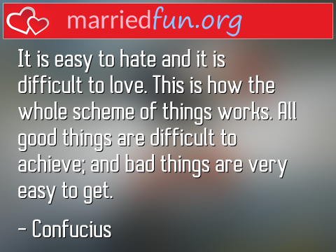 Love Quote by Confucius - It is easy to hate and it is difficult ...